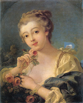 Francois-Boucher----Young-Woman-with-a-Bouquet-of-Roses
